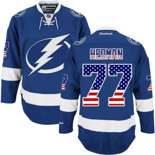 Victor Hedman Tampa Bay Lightning Men's Reebok Authentic Royal Blue USA Flag Fashion Jersey