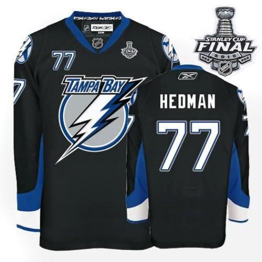 Victor Hedman Tampa Bay Lightning Men's Reebok Premier Black 2015 Stanley Cup Patch Jersey
