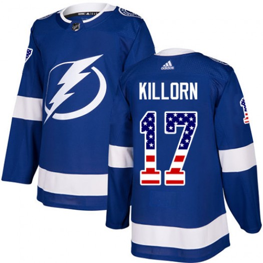Alex Killorn Tampa Bay Lightning Men's Adidas Authentic Blue USA Flag Fashion Jersey