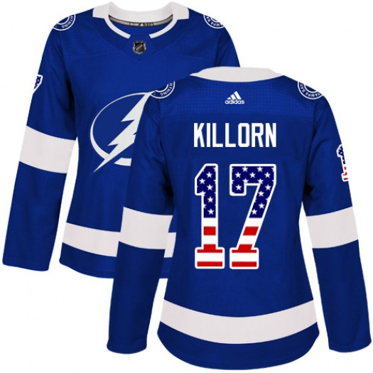 Alex Killorn Tampa Bay Lightning Women's Adidas Authentic Blue USA Flag Fashion Jersey