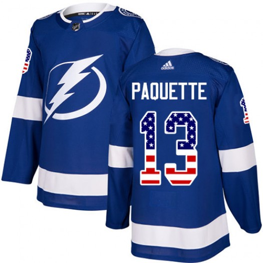 Cedric Paquette Tampa Bay Lightning Youth Adidas Authentic Blue USA Flag Fashion Jersey