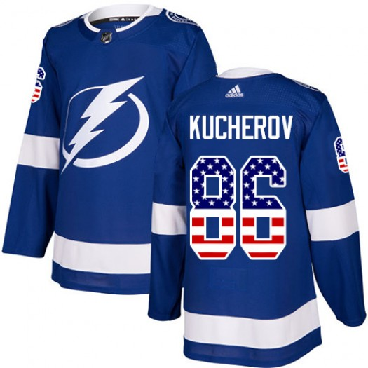 Nikita Kucherov Tampa Bay Lightning Youth Adidas Authentic Blue USA Flag Fashion Jersey