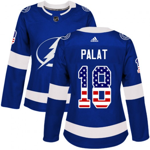 Ondrej Palat Tampa Bay Lightning Women's Adidas Authentic Blue USA Flag Fashion Jersey