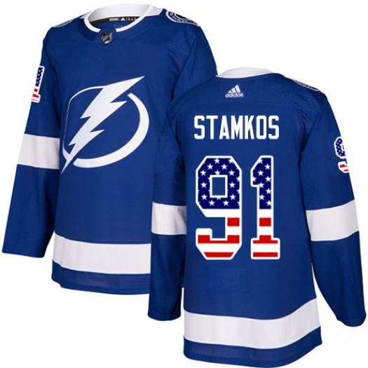 Steven Stamkos Tampa Bay Lightning Men's Adidas Authentic Blue USA Flag Fashion Jersey