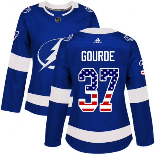 Yanni Gourde Tampa Bay Lightning Women's Adidas Authentic Blue USA Flag Fashion Jersey