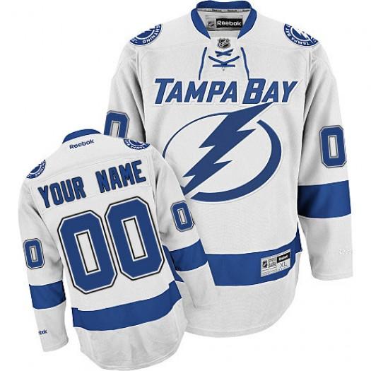 Men's Reebok Tampa Bay Lightning Customized Premier White Away Jersey